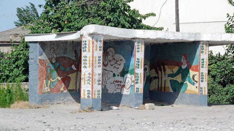 Azerbaijan - Road to Quba - Bus Stop