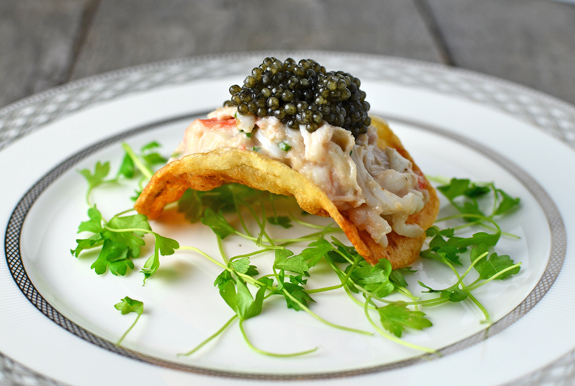 Potato Chip, King Crab, Brains and Caviar