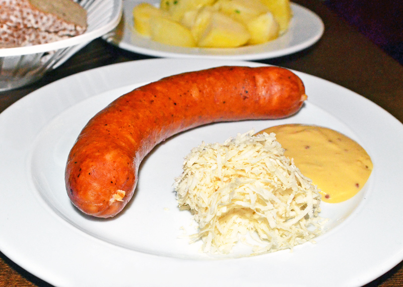 Prague - Mala Strana - Lokál - Preštice Sausage with Horseradish and Mustard