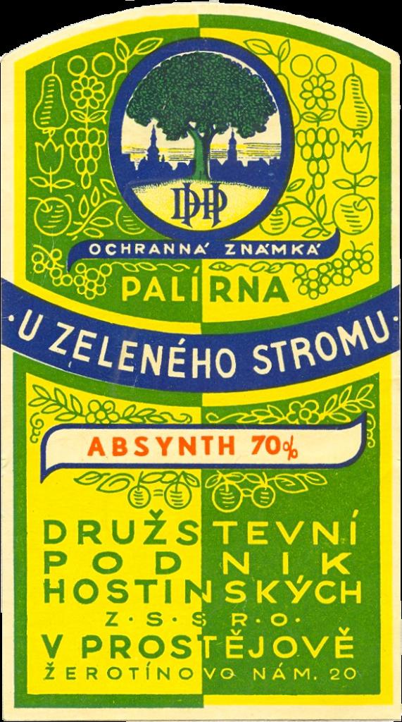 Czech Absinth - Old Label from u Zeleného Stromu