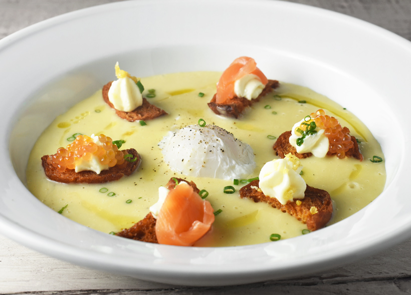 Potato Cream, Poached Egg, and Lake Trout Variations