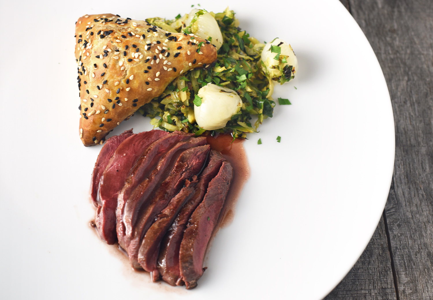 Czech Cuisine - Finger Lakes Duck, Plum Sauce and Brussels Sprouts