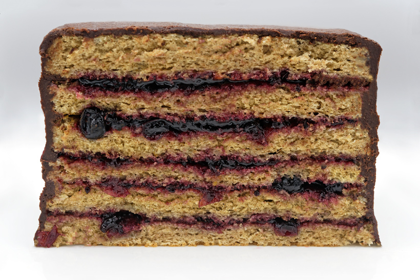 Russian Dessert - Rye Bread Cake with Blackcurrant Jam