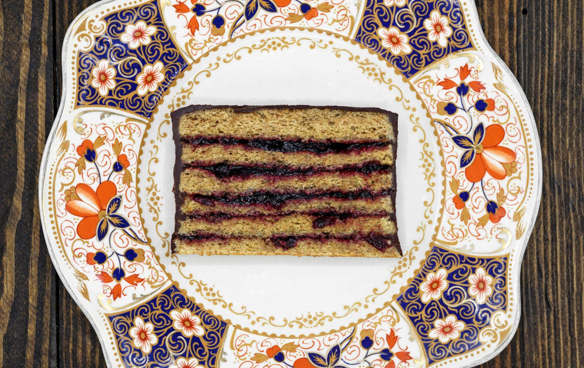 Russian Dessert - Rye Bread Cake with Blackcurrant Jam