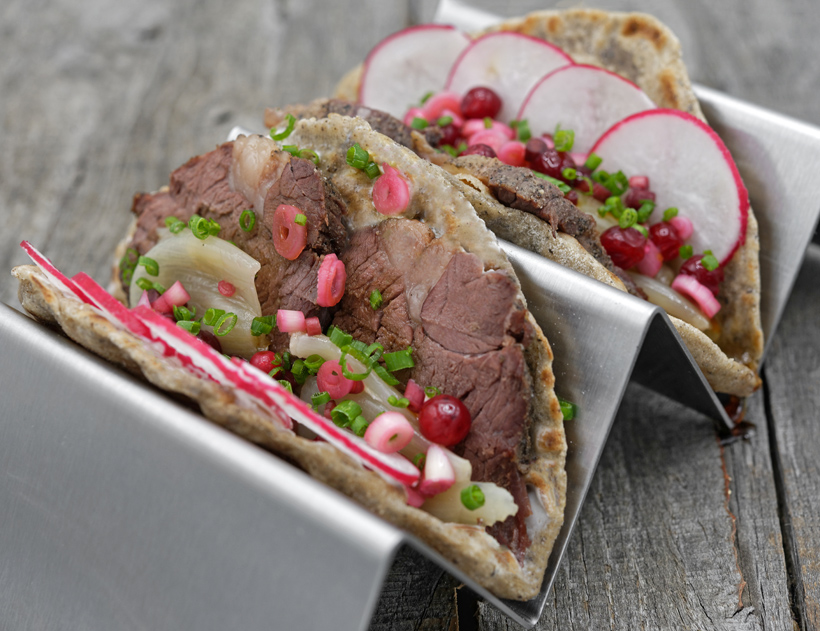 Buckwheat Tacos with Bear Confit and Birch Syrup