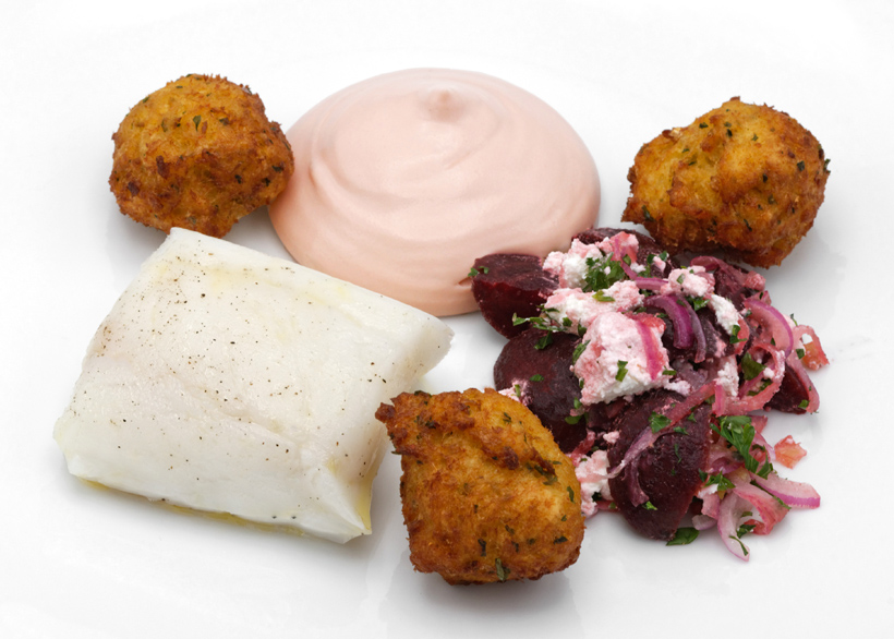 Russian Food - Pomor Cod Sous-Vide, Cod-Potato Fritters, Cod Roe Hollandaise