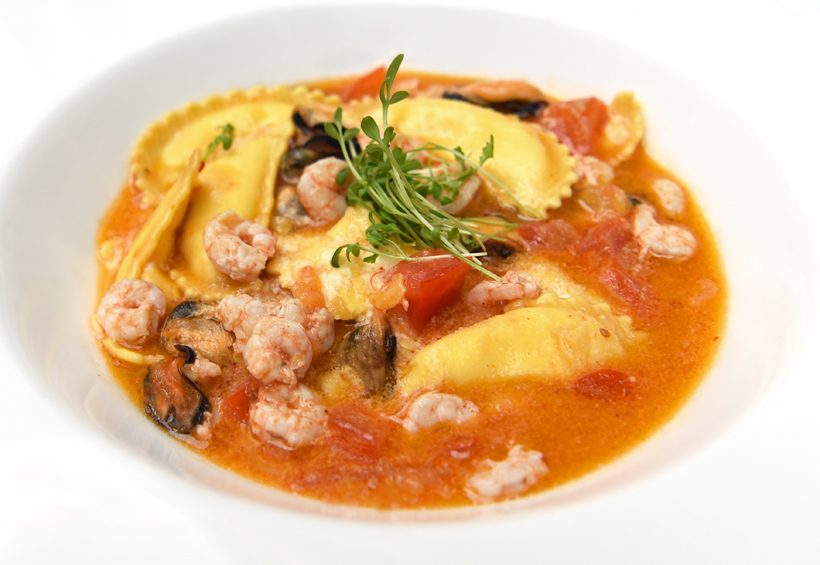 Zagreb - Vinodol Restaurant - Cheese Curd Ravioli with Smoked Mussels, Shrimp, and Cherry Tomato Sauce