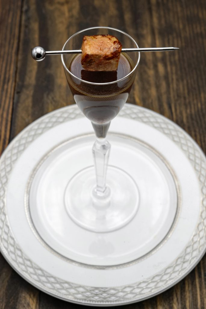 Russian Cuisine - Strong Grouse Broth with Foie Gras