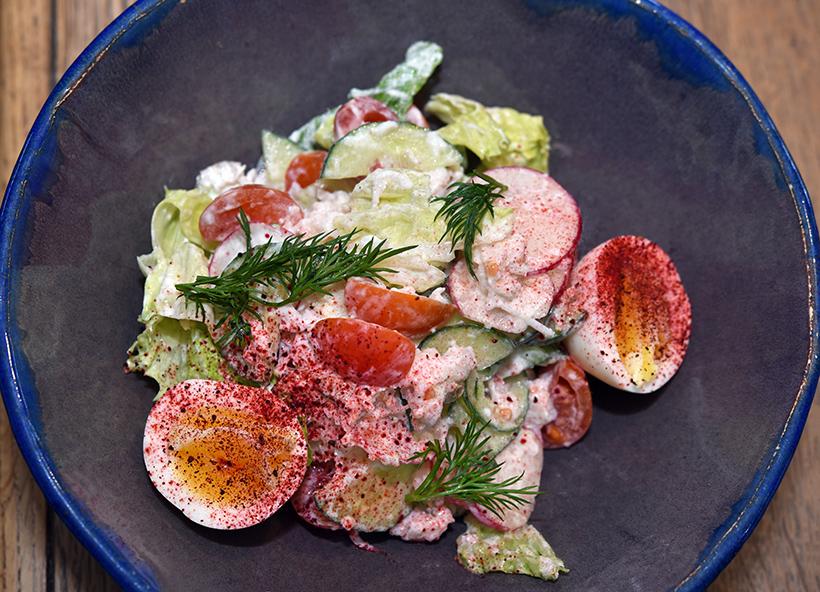 Murmansk - Tundra Restaurant - Kamchatka Crab Salad with Fresh Vegetables and Yogurt Dressing