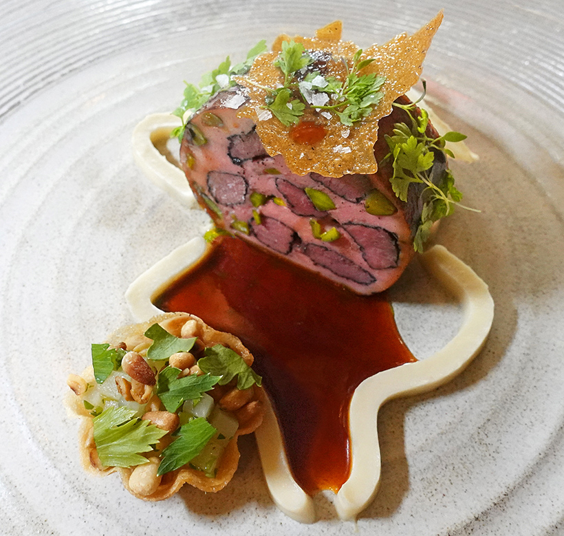 "Budapest - Onyx Restaurant - Venison ""Montage"", Duck Ravioli, Celery Root, Chervil"